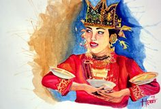 """Tari Piring"" painting by @henrysonbab #art #Indonesia"