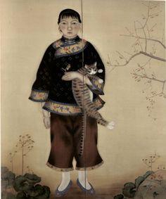 猫と少女 (1926年) 三谷十糸子  兵庫県立美術館所蔵作品展 (2002)より