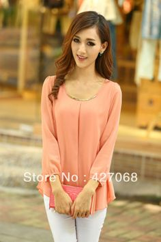 Top Sale New 2013 Autumn -summer Long-sleeve Chiffon Shirt  Women's New Arrival Slim Plus Big size Top shirt Blouses dresses US $12.50