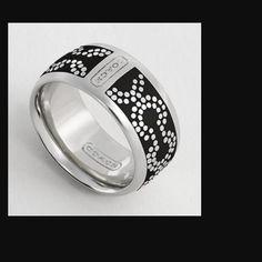 AUTHENTIC COACH Signature CC in Black Enamel COACH OP ART DOT RING - retro and totally modern. Silver band with black enamel signature CC. So pretty. Size 6 Coach Jewelry Rings