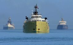 The Alpena escorted by two other Freighters out on the open water of the Great Lakes