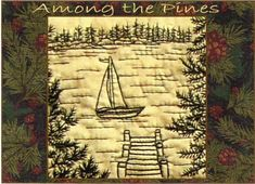 Among the Pines - Sailboat - Redwork Hand Embroidery Pattern by Beth Ritter - Instant Digital Download
