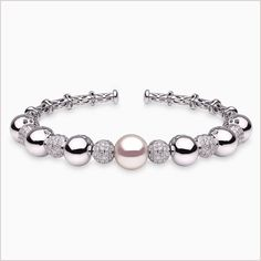 Yoko London White Gold South Sea Pearl and Diamond Bracelet, from our Mayfair collection. Pearl Bracelet, Bangle Bracelets, Bangles, White Gold Diamonds, Colored Diamonds, Yoko London, South Sea Pearls, Diamond Clarity, Jewellery