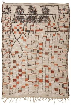 #45419 Vintage Moroccan Rug, Morocco, Mid 20th Century - This charming vintage rug from Morocco features a series of vertically aligned repea brown and charcoal gray that decorate the soft ivory field of this abstract vintage rug from Morocco. The classically modern combination details that emphasize the abstract style of this vintage Moroccan rug.  http://nazmiyalantiquerugs.com/antique-rugs/moroccan-rugs-vintage-carpets/