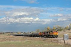 One of the regulars on the BNSF Front Range Sub. are the molten sulfur trains. These trains run between Bonneville, WY and Galveston, TX. Here is a southbound loaded sulfur train heading out of Fort Collins at Trilby Road. The bungalow just ahead of the locomotive is the talking defect detector at MP 67.8.