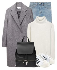 """Gray Coat & White Sneakers"" by matulik77 ❤ liked on Polyvore featuring Yves Saint Laurent, T By Alexander Wang, Proenza Schouler, adidas, COSTUME NATIONAL, Fall, sneakers and fallfashion"