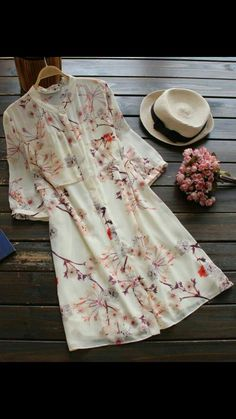 Awesome one to show off this fall! It is a chiffon shirt dress detailed with… Trendy Dresses, Cute Dresses, Trendy Outfits, Beautiful Dresses, Casual Dresses, Cute Outfits, Summer Dresses, Mode Chic, Mode Style
