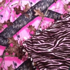 Think I'll make this blanket for lexies Christmas eve box! She's into zebra right now. Regular camo for landons. Fleece Tie Blankets, No Sew Fleece Blanket, No Sew Blankets, Pink Camo, Pink Zebra, Baby Crafts, Fun Crafts, Diy Things, Daughter Of God