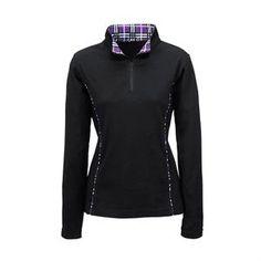 Riding Sport™ Plaid Trim Zip Mock Neck - back/brown, black/blue, black/purple small