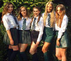 Girls Dressed In School Uniforms All Girls School, School Girl Dress, School Dresses, Girls Dresses, School Skirts, College Girls, School Uniform Outfits, Cute School Uniforms, Girls Uniforms