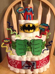 Diaper cake I made for Luke's superhero shower. Caseymstegall@gmail.com