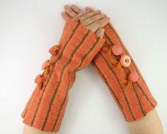 felted fingerless gloves wrists warmers eco friendly by piabarile, $26.00 Wrist Warmers, Hand Warmers, Fingerless Mittens, Black Stripes, Eco Friendly, Objects, Felt, Wool, Orange