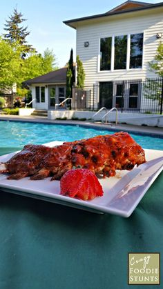 Baby Back Ribs with Roasted Strawberry Barbecue Sauce for a Red, White and Blue #SundaySupper