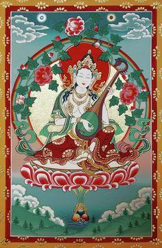 Shri Saraswati by Sergey/ Noskov - Tibetan-style painting