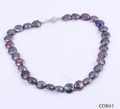 $7.95  Freshwater Purple Flat Balls Pearl Sterling Silver Clasp Jewellery Necklace