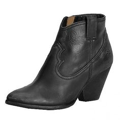 Frye Reina Bootie Womens 3472058-Blk Black Leather Zip Boots Shoes Wmns Size 8.5