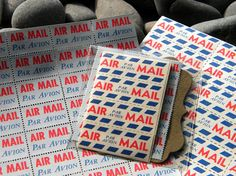 Set of 42 Vintage Air Mail Par Avion Stamps Vintage Air, Vintage Party, Paper Packaging, Pretty Packaging, Notebook Paper, Love Stamps, Day Planners, Happy Mail, Recycled Art