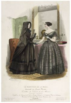 Mourning dress (left), fashion plate 1855