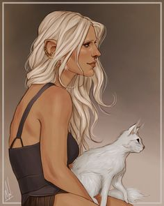 lady dwarf and her cat