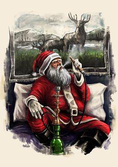Santa Loves Hookah on Behance Hookah Smoke, Hookah Pipes, Hookah Lounge Decor, Smoke Photography, Hookahs, Smoke Art, Cool Wallpapers For Phones, Makeup Wallpapers, Lounge Design