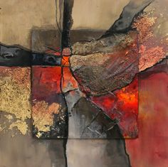 "CAROL NELSON FINE ART BLOG: ""New London"" mixed media geologic abstract © Carol Nelson Fine Art"