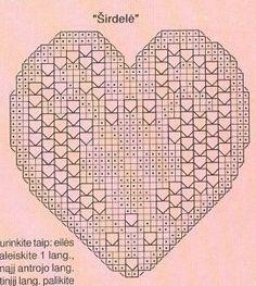 coeur dessous de verre.. Filet Crochet Charts, Crochet Motifs, Crochet Blocks, Crochet Squares, Crochet Toys Patterns, Crochet Designs, Crochet Doilies, Crochet Stitches, Knitted Heart Pattern