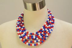 The Michelle Red White and Blue Czech Glass by danaleblancdesigns