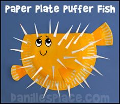 Paper Plate Puffer Fish Craft from www.daniellesplace.com