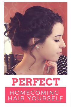 homecoming hairstyles that will be perfect for your Homecoming dance! This is a really easy and pretty updo for medium length hair or a great option for updos for long hair. Its simple and easy to do and will look good with any style of homecoming dresses! updo hairstyles can be a little pricey if you get them done at a salon but this one is so easy to do yourself or have a friend or parents help you do at home. easy hairstyles AbigailMarie97.com