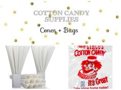 Cotton Candy Cones and Bag supplies // by TheSimplyChicShop, $5.00