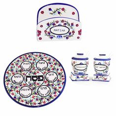 Hand Painted Floral Passover Seder Set