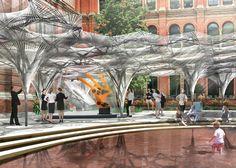 Achim Menges unveils plans for robot-built pavilion in V&A courtyard