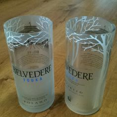 Belvedere tumblers made out of empty liquor bottles in Little Rock, AR. Recycle, repurpose, upcycle. Facebook.com/FHJLR