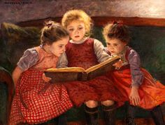 "Walter Firle  1859-1929  ""The Fairytale - Three Reading Girls""  I have always loved this print - Reminds me of me and my sisters"