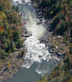 Aerial view of Pillow Rock Rapid, a Class V rapid on the upper Gauley River in Fayette County, West Virginia.