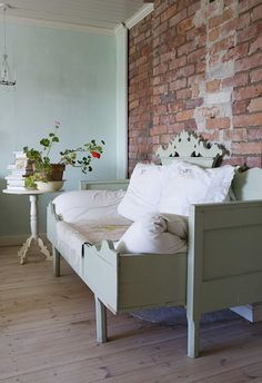 Greige bed, vintage brick wall and white washed floors - elegant. Decor, Furniture, House Design, Interior, Home Remodeling, Home Decor, House Interior, Interior Design, Home And Living