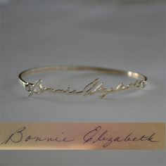 Personalized Signature/Handwriting Bracelet - Bangle Bracelet - Sterling Silver by bigEjewelry on Etsy