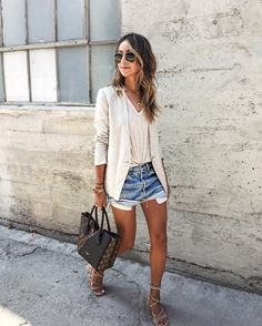 Blazer, tee, denim shorts, and suede lace up sandals summer outfit