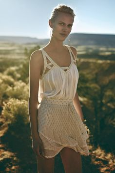 luv the lighting on this backlit by sun and glowy & shaded in front, Cutwork Gauze Tank