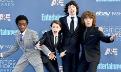 Suited up Stranger Things kids at the Critics' Choice Awards