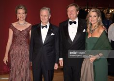 Queen Mathilde (L),  King Philip of Belgium (2nd L), King Willem-Alexander (2nd R) and Queen Maxima (R) of the Netherlands attend the concert at the Muziekgebouw aan 't IJ in Amsterdam, Netherlands on November 29, 2016. (Photo by Stringer/Anadolu Agency/Getty Images)