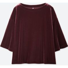 UNIQLO Women's Velour Half-sleeve Pullover ($15) ❤ liked on Polyvore featuring tops, sweaters, wine, drapey sweater, brown pullover sweater, brown top, loose pullover sweater and loose tops