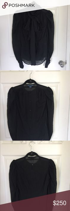 Ralph Lauren Black Silk Tie Blouse - 3 pieces This gorgeous, elegant and gothic blouse is to die for. I wish it fit! Made of silk and elastane, this blouse hugs every curve juxtaposing modesty with Victorian sex appeal. The removable neck tie and silk cami make this super versatile. My loss is your gain! Ralph Lauren Blue Label Tops Blouses
