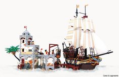 #LEGO Pirate Ship and Fort. Very cool