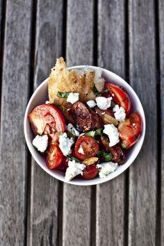 Tomato, Chorizo, Goat Cheese & Basil Salad