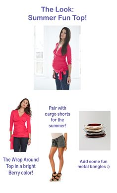 The Look: Summer fun top!  I am in love with this bright berry wrap around top from Isabella Oliver.  Could easily be worn with short shorts on hot days or jeans at night.