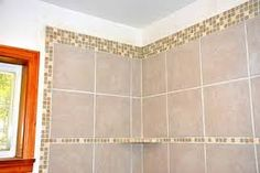 Have the accent tile run across the top and also at eye level Tile Ideas, Road Trips, Gold Necklace, Shower, Eye, Amazing, Jewelry, Rain Shower Heads, Gold Pendant Necklace