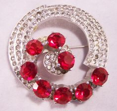 Art Deco Rhinestone Brooch with Clear and Red by GretelsTreasures