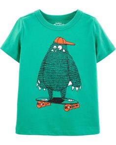 Toddler Boy OshKosh Originals Skateboarding Monster Graphic Tee from OshKosh B'gosh. Shop clothing & accessories from a trusted name in kids, toddlers, and baby clothes. Skater Girl Outfits, Toddler Girl Outfits, Boy Outfits, Baby Boy Tops, Boys Clothes Style, Boys Wear, Boy Fashion, Fashion Clothes, Toddler Girls