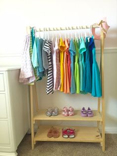 Learn how to build a kids wood clothing rack otherwise known as an open wardrobe!